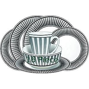 61ANSKpJjWL. SS300  - Leisurewize LWACC237 Melamine 16 Pcs Dinner Set - Plates, Bowls, Mugs, Side Plates - Geometric Strip