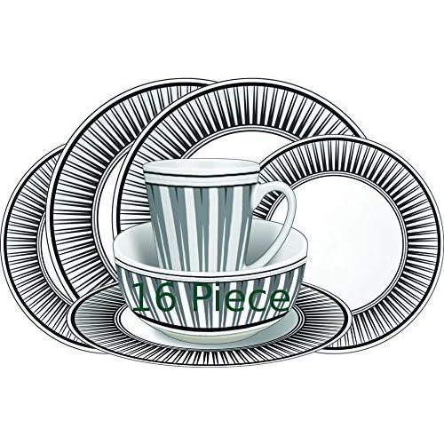 Leisurewize LWACC237 Melamine 16 Pcs Dinner Set – Plates, Bowls, Mugs, Side Plates – Geometric...