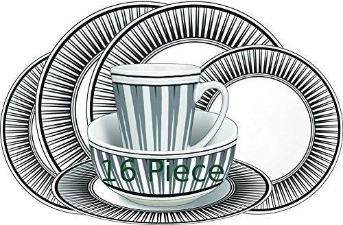 61ANSKpJjWL - Leisurewize LWACC237 Melamine 16 Pcs Dinner Set - Plates, Bowls, Mugs, Side Plates - Geometric Stripe, Heat Resistant…