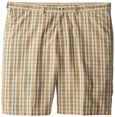 Haggar Men's Big-Tall Cool 18 Expandable Waist Plaid Windowpane Short, Khaki, 44
