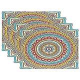Wamika 1 Stück Tischsets für Esstisch, indisches Mandala, Vintage-Deko-Elemente, waschbar, Rutschfeste Küchentisch Mats, 30,5 x 45,7 x 2,5 cm, Polyester-Mischgewebe, Multi, 12x18 inch