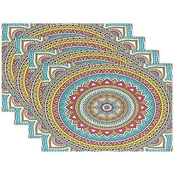 Wamika 1 Stück Tischsets für Esstisch, indisches Mandala