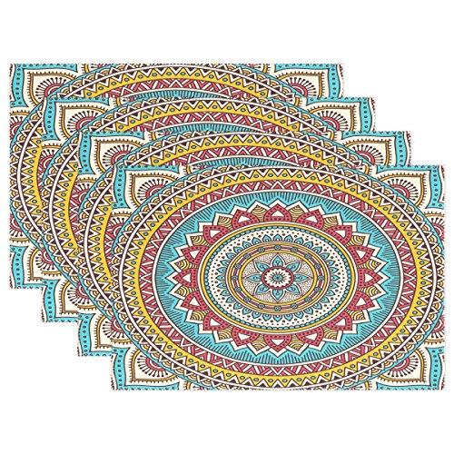Wamika 1 Stück Tischsets für Esstisch, indisches Mandala, Vintage-Deko-Elemente, waschbar, Rutschfeste Küchentisch Mats, 30,5 x 45,7 x 2,5 cm,...