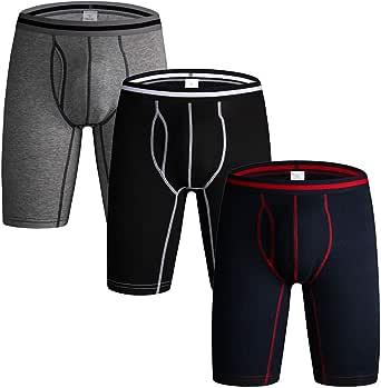 DODOMIAN Men's Long Leg Boxer Shorts No Ride Up Cotton Trunks Sports Underpants Underwear