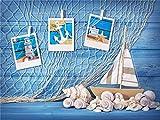 A.Monamour 200X150Cm Blauen Holzwand Boden Boot Fischernetz Thema Fotografie Hintergründe Für Studio Requisiten