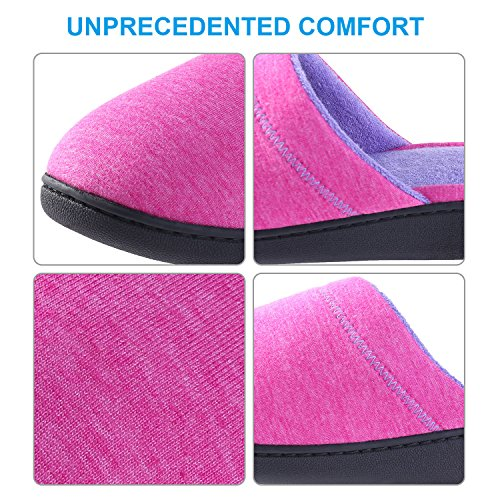 JUDY House Damen Hausschuhe Winter Warm für Frauen-Indoor atmungsaktiv Baumwolle Slipper-Comfort Anti-Slip Closed Toe stricken Schuhe Mae rot