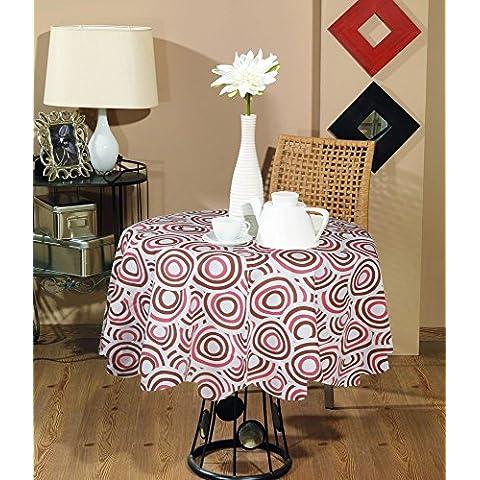 Indian tovaglia stampata rotondo -100% cotone geometrico tovaglia rotonda grande rosa e marrone -dia 140 (Tovagliolo Di Uccello A Mano)