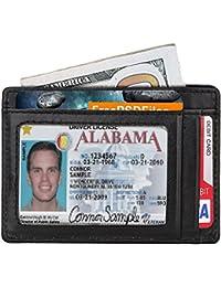 Enuo piel de grano completo Money Clip, cartera con alta calidad RFID Blocker Slim tarjeta de crédito soporte