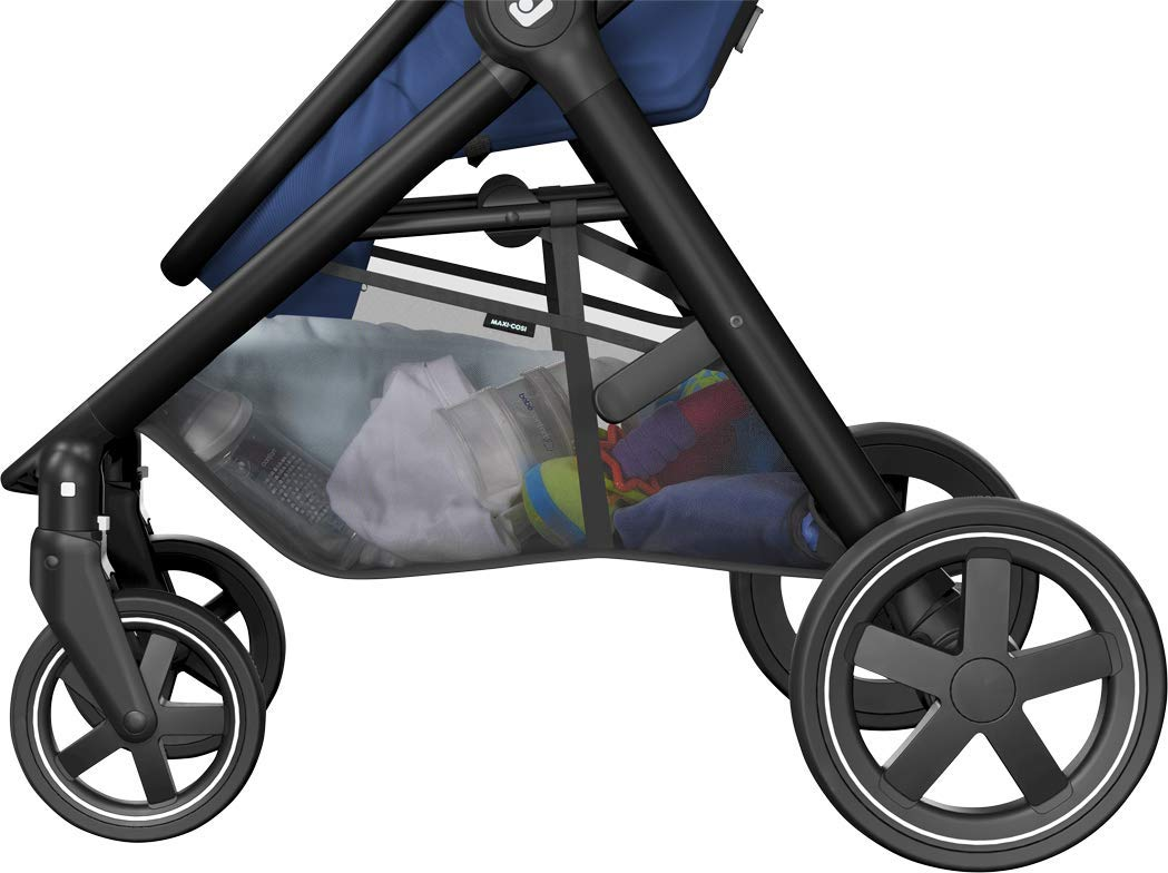 Maxi-Cosi Zelia Baby Pushchair, Lightweight Urban Stroller from Birth, Travel System with Bassinet, 15 kg, Essential Blue Maxi-Cosi Flexible stroller from birth to 3.5 years 2-in-1 seat unit: zelia's seat transforms into a pram bassinet for use from 0 - 12 m in a single movement This city stroller is easy to carry thanks to its lightweight 13