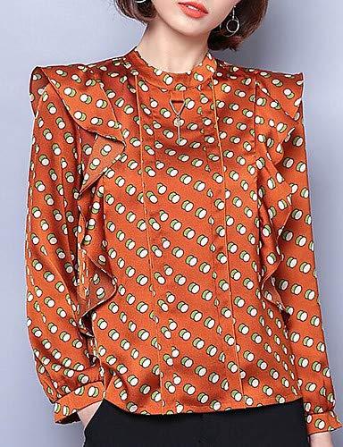 YFLTZ Blusa de Mujer - Cuello Redondo de Lunares, Naranja, XL