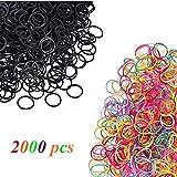 2000 Pièce Bands Elastiques à Cheveux Multicolore et Noir et Simple en Caoutchouc Bandeaux de Queue de Cheval Accessoires pour Cheveux Accessoire(1000coloré +1000noir)