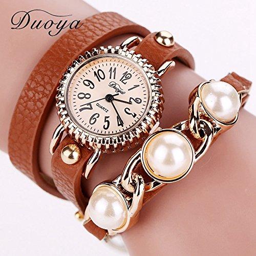 circuming (TM) da donna orologi in pelle orologi da polso Vincitore perla Bracciale oro rosa Luxury-Lady duoya Top Brand Pink Fashion xr728,