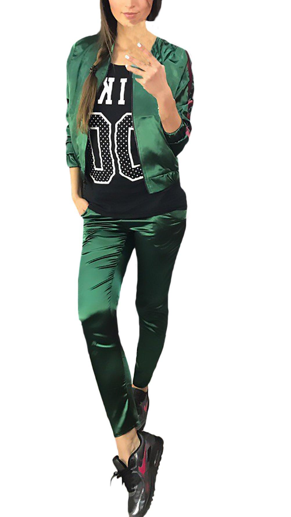 8cbc165996bf Tute Donna Ginnastica Eleganti Manica Lunga Con Zip Giacca E Lunghi  Pantaloni Giovane Grazioso Sportivi Due Pezzi Set Casual Autunno Inverno  Sportive ...