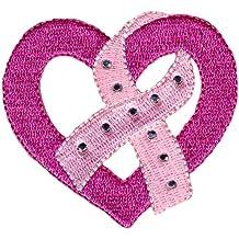 Simplicity - Aplique de tela con tacos, diseño de corazón y lazo contra el cáncer