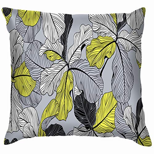 beautiful& Floral Fiddle Leaf Fig Nature Cotton Throw Pillow Case Cushion Cover Home Office Decorative, Square 18X18 Inch Fiddle Shell