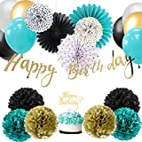 Easy Joy HAPPY BIRTHDAY Banner Torten-Topper Geburtstag Dekoration Kit Anniversar (Türkis)