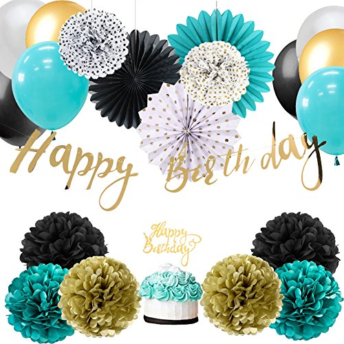 (Easy Joy HAPPY BIRTHDAY Banner Torten-Topper Geburtstag Dekoration Kit Anniversar (Türkis))