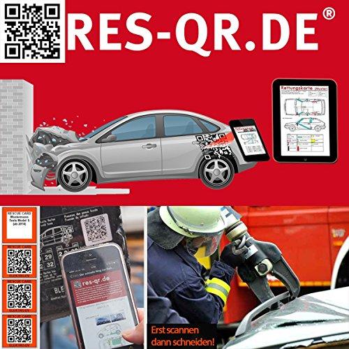 ab 2012: QR-Etiketten-Nachrüst-Satz für Zugang zur digitalen Rettungskarte (3 Etiketten plus Hinweisplakette (Feuerwehr-golf-zubehör)