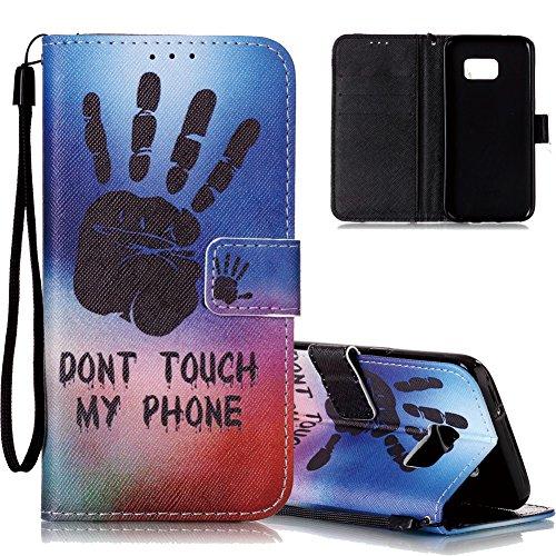 Galaxy S7 Ledertasche,Flip Schutzhülle für Samsung Galaxy S7, Aeeque® [Hand Sprichwort Muster] Kartenfach Standfunktion mit Schwarz Abnehmbar Handy Lanyard und Weich Silikon Innere Handytasche