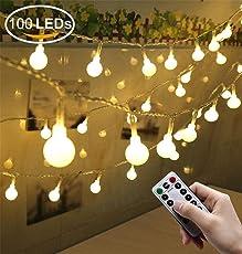 Greatever Lichterkette, 100er LED Glühbirnen Lichterkette 10M mit 8 Blitzmodi, Fernbedienung, Batteriebetriebene, IP65 Wasserdicht, Innen und Außen Beleuchtung Deko für Weihnachten Hochzeit Party Garten Balkon Halloween (Warmweiß)