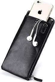Men's long wallet Korean version of young zipper men's mobile phone bag ultra-thin wallet (black)
