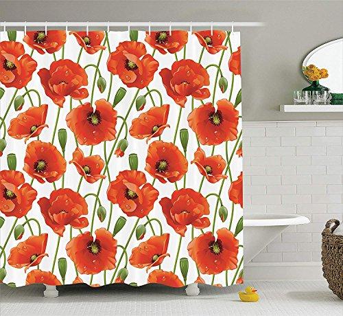 SRJ2018 Poppy Decor Collection Mohn Blumen Blüten Knospen Wassertropfen Tau Morgenzeit BildmusterBad Duschvorhang Orange Rot Grün (Orange Duschvorhang Und Grün)