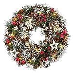 III 60685decorazione corona Natale con 20LED a luce bianca calda, circa 32x 9cm, plastica, Multicolore