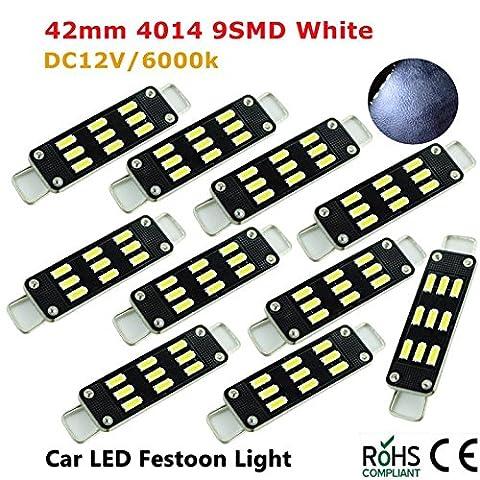 10 Pcs 42mm 41mm 9 SMD 4014 LED Pure White Car Festoon Interior Dome Light Lamp Bulb 12V