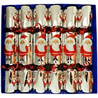 Crackers Large Glass Animal Figurine Jolly Santa Design Silver Christmas Crackers - Box of 6 crackers