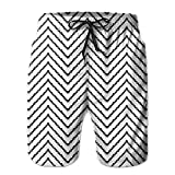 Beach Shorts Zig Zag Triggering Lines Pattern Men's Breathable Swim Trunks Exercise Board Pants