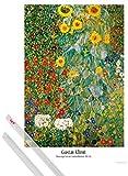 1art1 Poster + Hanger: Gustav Klimt Poster (91x61 cm) Bauerngarten Mit Sonnenblumen, 1905-06 Inklusive EIN Paar Posterleisten, Transparent