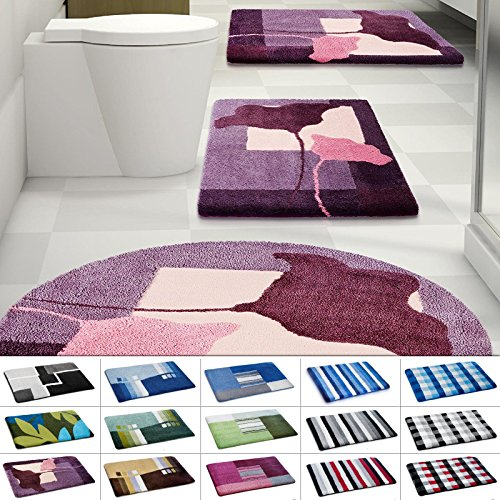 Design Badematte | rutschfester Badvorleger | viele Größen | zum Set kombinierbar | Öko-Tex 100 zertifiziert | viele Muster zur Auswahl | Blumen - Lila (95 cm rund)