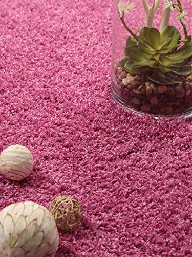 Benuta Shaggy Hochflor Teppich Cambria Pink 60x60 cm | Langflor Teppich für Schlafzimmer und Wohnzimmer