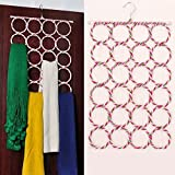 #9: CONNECTWIDE® Foldable 24 Ring Hole Slots Space Saving Closet Hanger Scarf, Ties, Belts, Socks Multifunctional Organizer Holder Collapsible for Home Bedroom, Bathroom, Living Room- Mufflers and Shawl Accessory Door Closet Organization.(1Pc)