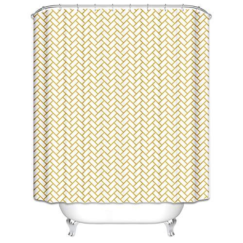 LOUMVE Antibacterial Badezimmervorhang 90x180 cm Gitter Beige Anti Schimmel Duschvorhangringe für Badezimmer inkl. 12 Ringe