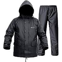 Rain Suit for Men Women, Lightweight Waterproof Rain Coat (Jacket + Trousers) Sets Windproof Hooded Rain Gear Work wear