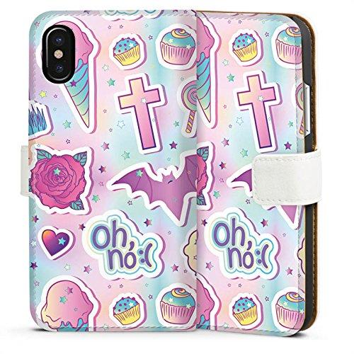 Apple iPhone 7 Plus Silikon Hülle Case Schutzhülle Halloween Muster Girly Sideflip Tasche weiß