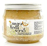 NATURAL Sugar BODY SCRUB with VANILLA, SHEA BUTTER, HONEY & ORANGE PEEL. Exfoliating and Moisturizes skin, Soothes the Skin, Perfect Cleanser Natural Minerals and Oils for all Skin Types 100% SLS free