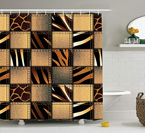 Jolly2T Safari Decor Shower Curtain Set by, Jeans Denim Patchwork in Safari Style Wilderness Stylish Fashionable Design Art, Bathroom Accessories, 60x72 Inchesbrown Black (Jeans In 108)