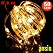 Fairy Lights 50 LED Copper String Lights 5.4m, 3AA Battery Operated Indoor & Outdoor (Shower Proof) LED Fairy Lights LED String Lights. (50 LED Warm White)