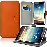Seluxion - Housse Etui Porte-Carte Support Universel L Couleur Orange pour Smartphone Alcatel POP 4-6'