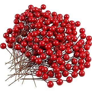 TUPARKA 150 Pcs Christmas Holly Berries Bayas Artificiales para Guirnaldas de Navidad Decoraciones Guirnalda Fabricación de Suministros Decoración de la Fiesta de Navidad