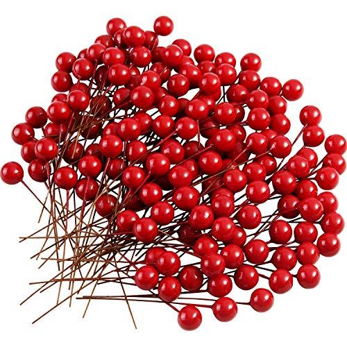 TUPARKA 150pcs Mini Rot Holly Beeren Weihnachten Dekoration Weihnachtskranz Dekoration Künstliche Holly Berry zum Basteln Geschenken Dekoration Künstliche Blumen Bastelmaterial Holly Berry