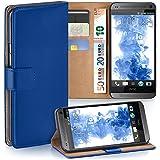 HTC One Mini Hülle Blau mit Karten-Fach [OneFlow 360° Book Klapp-Hülle] Handytasche Kunst-Leder Handyhülle für HTC One Mini M4 Case Flip Cover Schutzhülle Tasche
