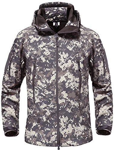 TACVASEN Army Jacket Camouflage Mens Waterproof Jacket Snow Mountain Fleece Jacket ACU Camo