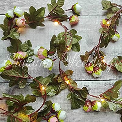 Pale Pink Rose Fairy Lights / String Lights / Garland with Lights - Wedding Decorations - AA Battery Powered - Indoor Leaves - Rose Garland - Flower Garland with Lights - Fairy Lights Bedroom