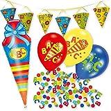 Tolles Party-Paket zum Schulanfang / zur Einschulung mit Girlande, Schultüten-Ballon, bunten Luftballons & Buchstaben-Konfetti