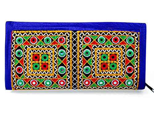 Para Ladies Traditional Hand Clutch Women Wallet, Blue  available at amazon for Rs.299
