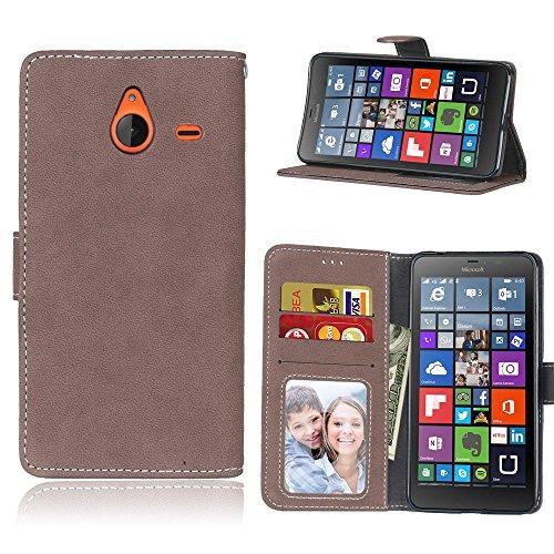 YHUISEN Lumia 640 XL Case, Retro Style Solide Farbe Premium PU Leder Geldbörse Fall Flip Folio Schutzhülle Hülle mit Kartenfach / Stand für Microsoft Nokia Lumia 640 XL ( Color : Rose ) Brown