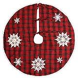 Grelucgo ricamato Snowflake Christmas Holiday Tree Skirt, rotondo, 91.5cm, colore: Rosso e Nero Buffalo plaid, Round 36 Inch